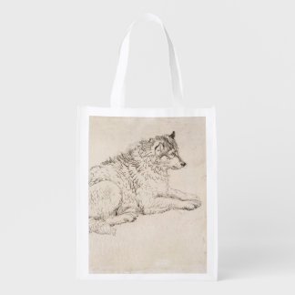 Arctic Dog, Facing Right (pencil on paper) Reusable Grocery Bags