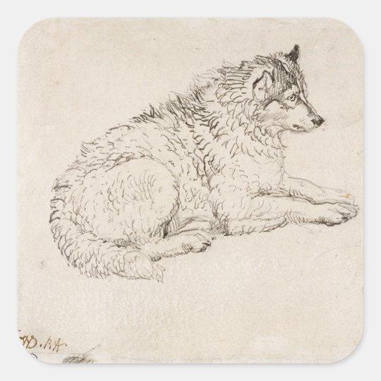 Arctic Dog, Facing Right (pencil on paper) Square Sticker