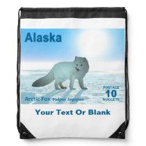 Arctic Fox - Alaska Postage Drawstring Backpack