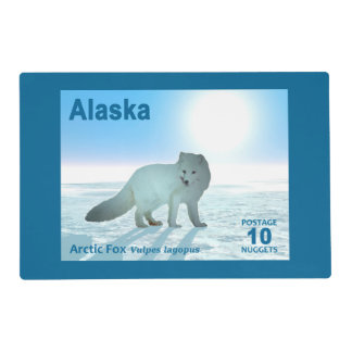 Arctic Fox - Alaska Postage Laminated Placemat
