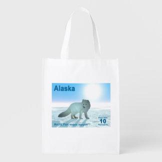 Arctic Fox - Alaska Postage Reusable Grocery Bag