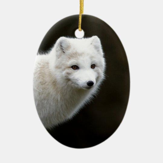 Arctic Fox Ceramic Ornament