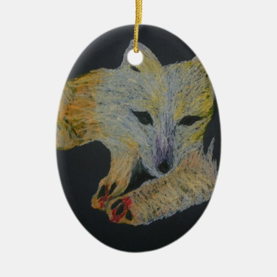 arctic fox ceramic ornament