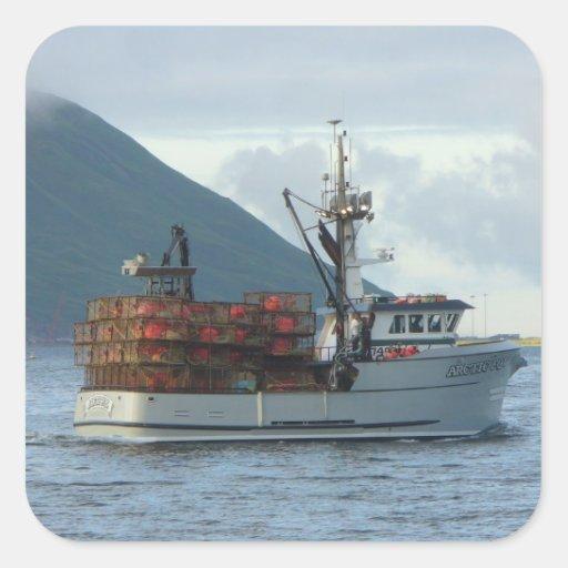 Arctic Fox, Crab Boat in Dutch Harbor, Alaska Square Sticker