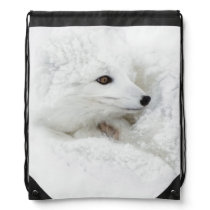 Arctic Fox curled up in winter Drawstring Bag