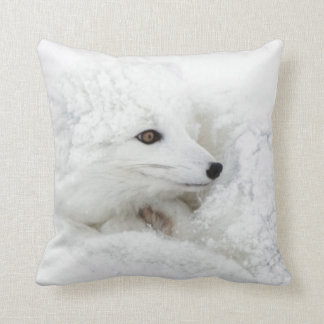 Arctic Fox curled up in winter Throw Pillows