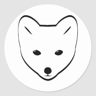 Arctic Fox Head Classic Round Sticker