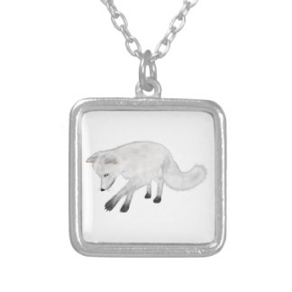 Arctic Fox Hunting Silver Plated Necklace