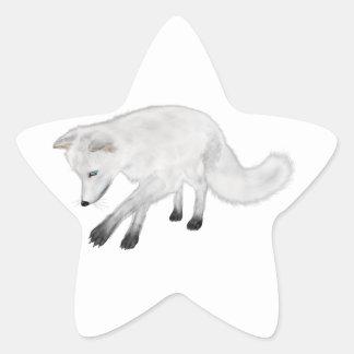 Arctic Fox Hunting Star Sticker
