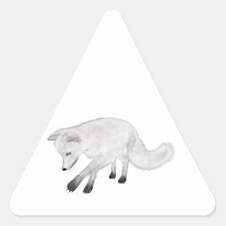 Arctic Fox Hunting Triangle Sticker