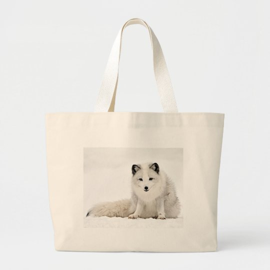 Arctic Fox in the Snow Large Tote Bag