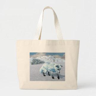 Arctic Fox In Winter Large Tote Bag