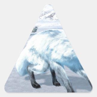 Arctic Fox In Winter Triangle Sticker