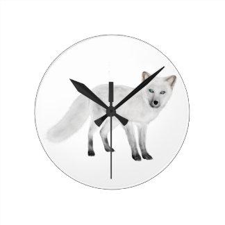 Arctic Fox Round Clock
