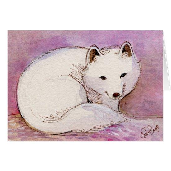 Arctic Fox Watercolor Greeting Card