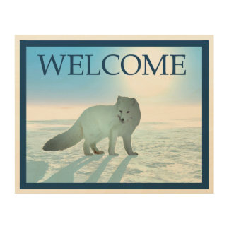Arctic Fox - Welcome Wood Wall Art