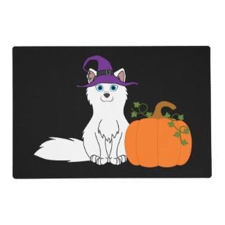 Arctic Fox with Halloween Pumpkin Laminated Place Mat