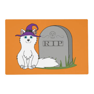 Arctic Fox with RIP Grave Stone Laminated Place Mat