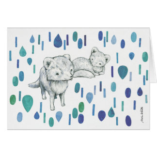 Arctic Foxes - greeting card