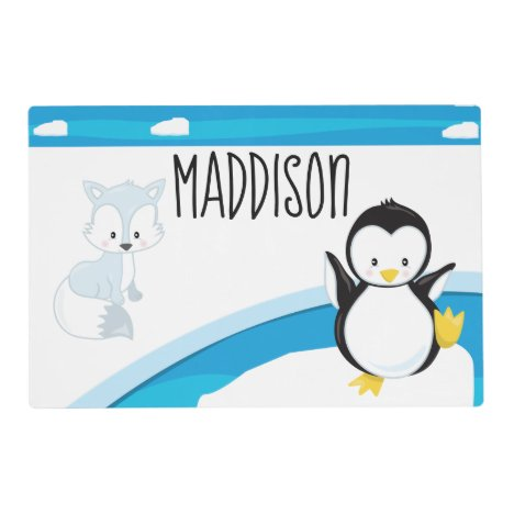 Arctic Friends Kid's Personalized Placemat
