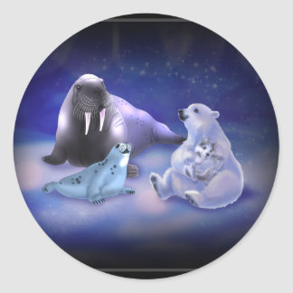 Arctic Friends Round Stickers