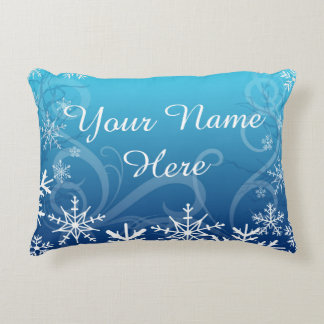 Arctic Frozen Snowdrift Personalized Accent Pillow