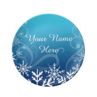 Arctic Frozen Snowdrift Personalized Porcelain Plate
