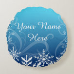 Arctic Frozen Snowdrift Personalized Round Pillow