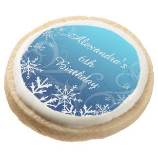 Arctic Frozen Snowdrift Personalized Round Premium Shortbread Cookie