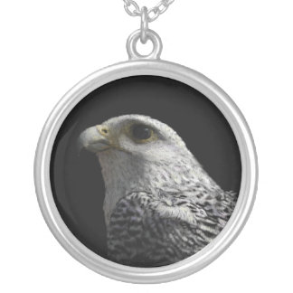 Arctic Gyrfalcon Portrait Painting Silver Plated Necklace