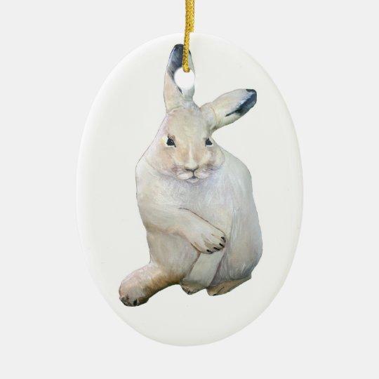 Arctic Hare Ceramic Ornament