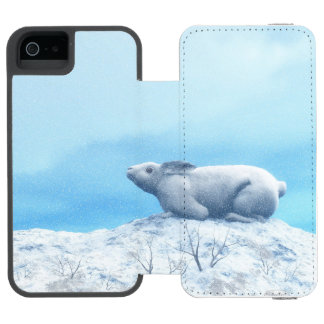 Arctic hare, lepus arcticus, or polar rabbit iPhone SE/5/5s wallet case