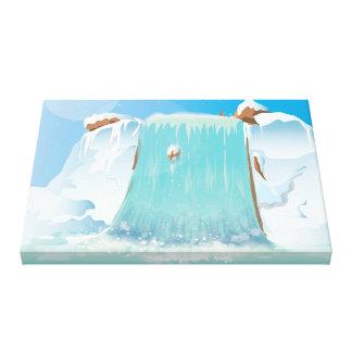 Arctic Ice Waterfall Canvas Print