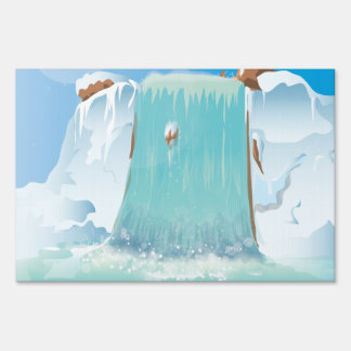 Arctic Ice Waterfall Yard Sign
