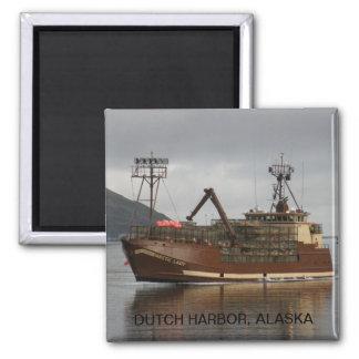 Arctic Lady, Crab Boat in Dutch Harbor, AK 2 Inch Square Magnet