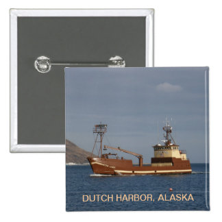 Arctic Lady, Crab Boat in Dutch Harbor, Alaska Button