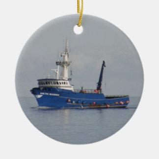 Arctic Mariner, Crab Boat in Dutch Harbor, AK Ceramic Ornament