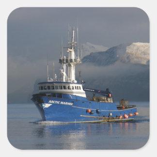 Arctic Mariner, Crab Boat in Dutch Harbor, AK Square Sticker