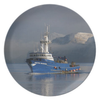Arctic Mariner, Crab Fishing Boat in Dutch Harbor Dinner Plate