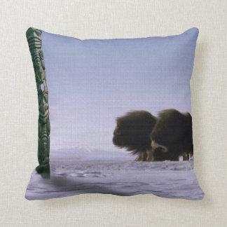 Arctic Musk Oxen Sacred Bovines Wildlife Art Throw Pillow