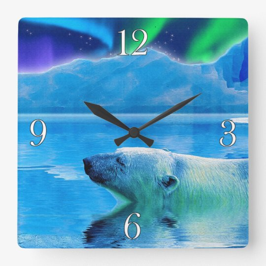 Arctic Polar Bear & Aurora Art Clock