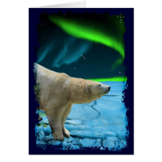 Arctic Polar Bear & Aurora Art Gifts Card