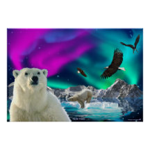 Arctic Polar Bears & Bald Eagles Fantasy Art Print