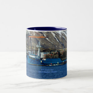 Arctic Sea, Crab Boat in Dutch Harbor, Alaska Two-Tone Coffee Mug