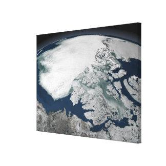 Arctic sea ice above North America Canvas Print
