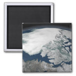 Arctic sea ice above North America Refrigerator Magnets