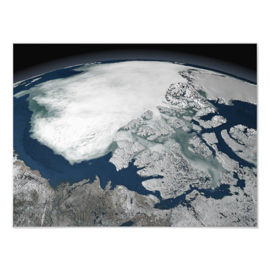 Arctic sea ice above North America Photo Print