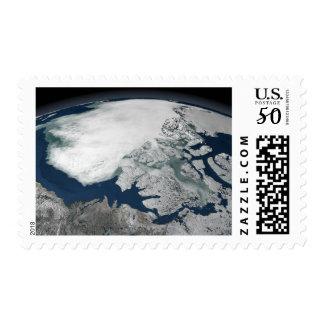 Arctic sea ice above North America Postage