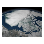 Arctic sea ice above North America Print