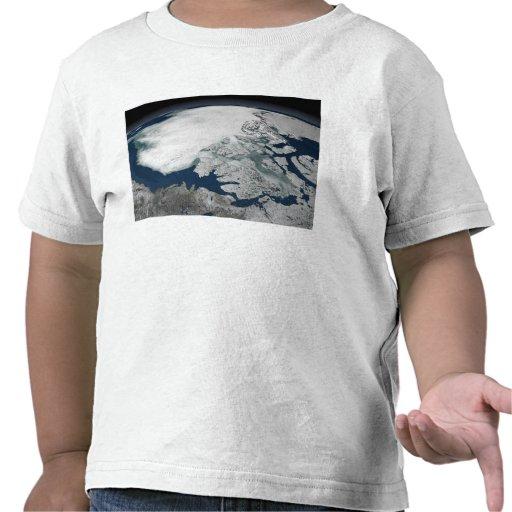 Arctic sea ice above North America T Shirts